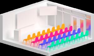 Esempio di stanza grande/sala plenaria per videoconferenze aziendali