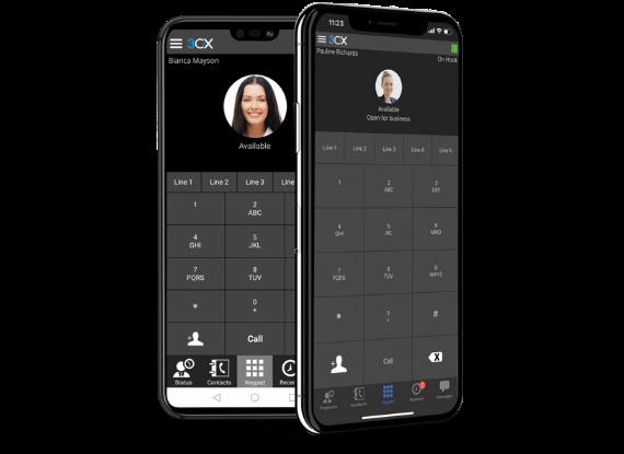 cellulare con schermata app 3cx