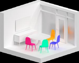 Esempio di huddle room stanza media per videoconferenze aziendali