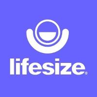 logo lifesize bianco su sfondo viola