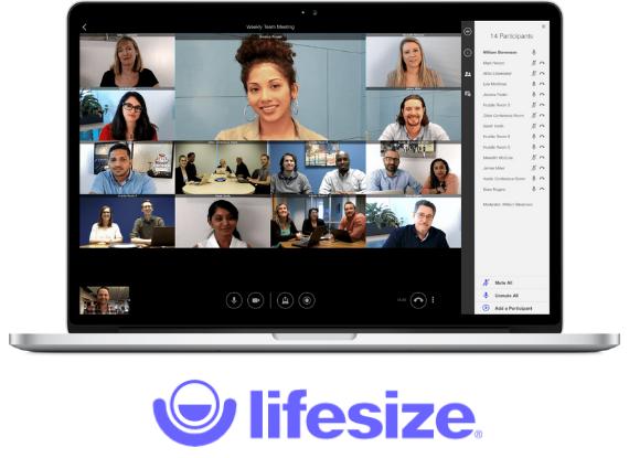 Schermata computer con persone in videoconferenza con app Lifesize
