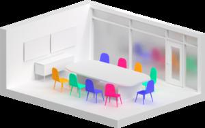 Esempio di stanza media per videoconferenze aziendali Lifesize