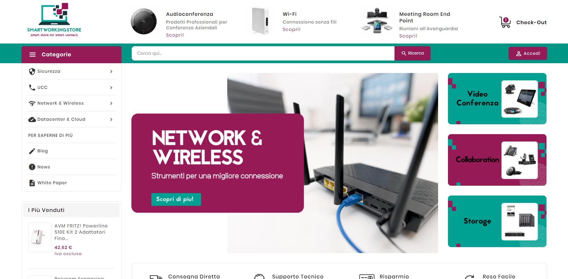 schermata homepage del sito smartworklingstore.com
