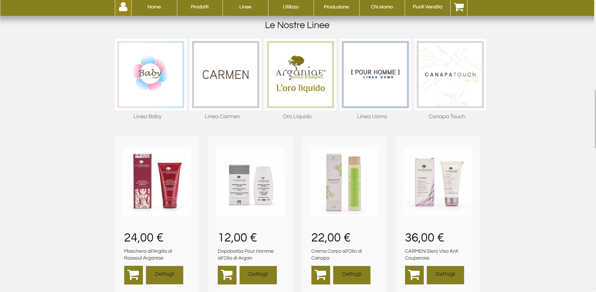 Screenshot prodotti ecommerce arganiae