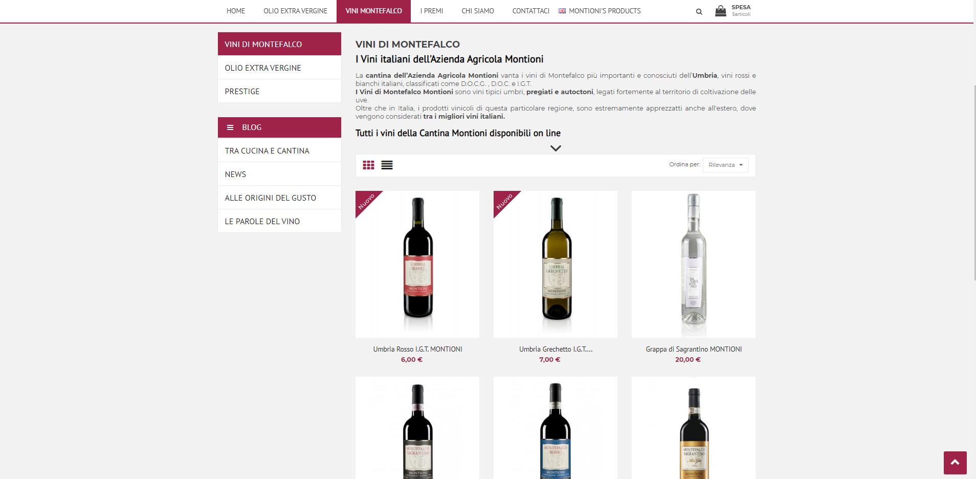 screenshot prodotti in vendita nell'ecommerce Montioni