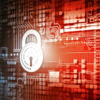 lucchetto criptato in un circuito informatico