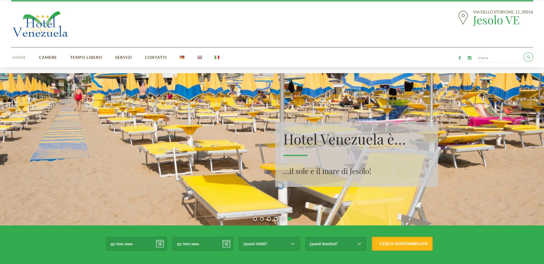 schermata home page sito www.hotelvenezuela.it