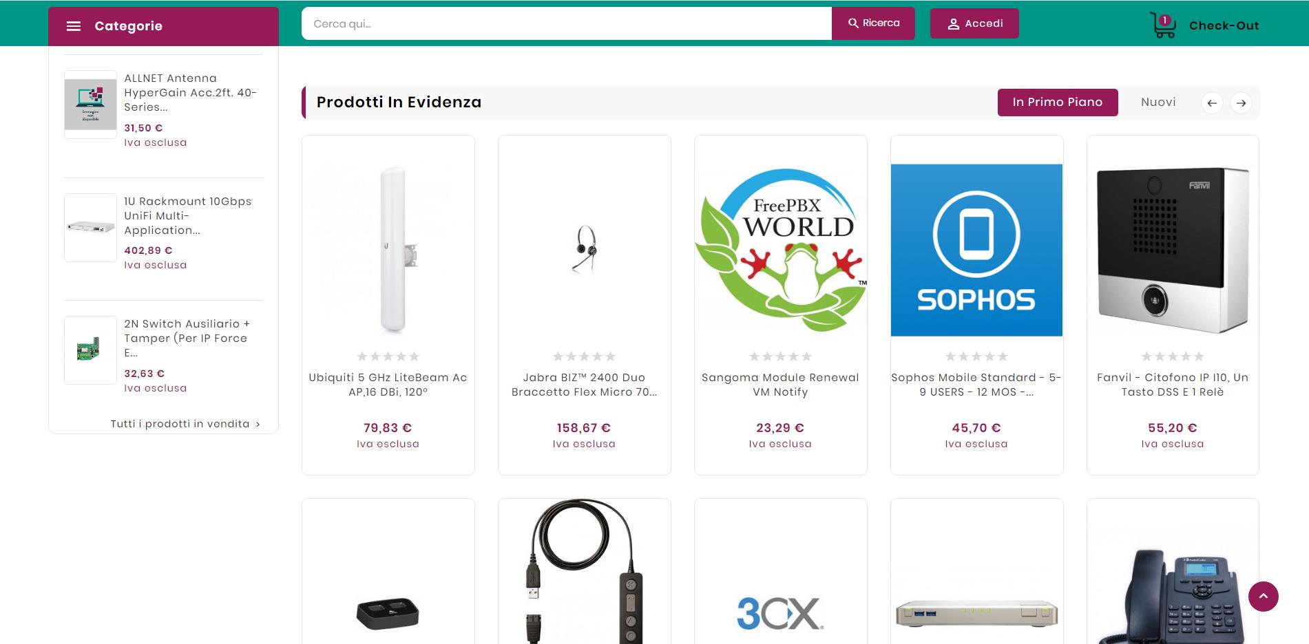 screenshot pagina prodotti sito smartworkingstore.com
