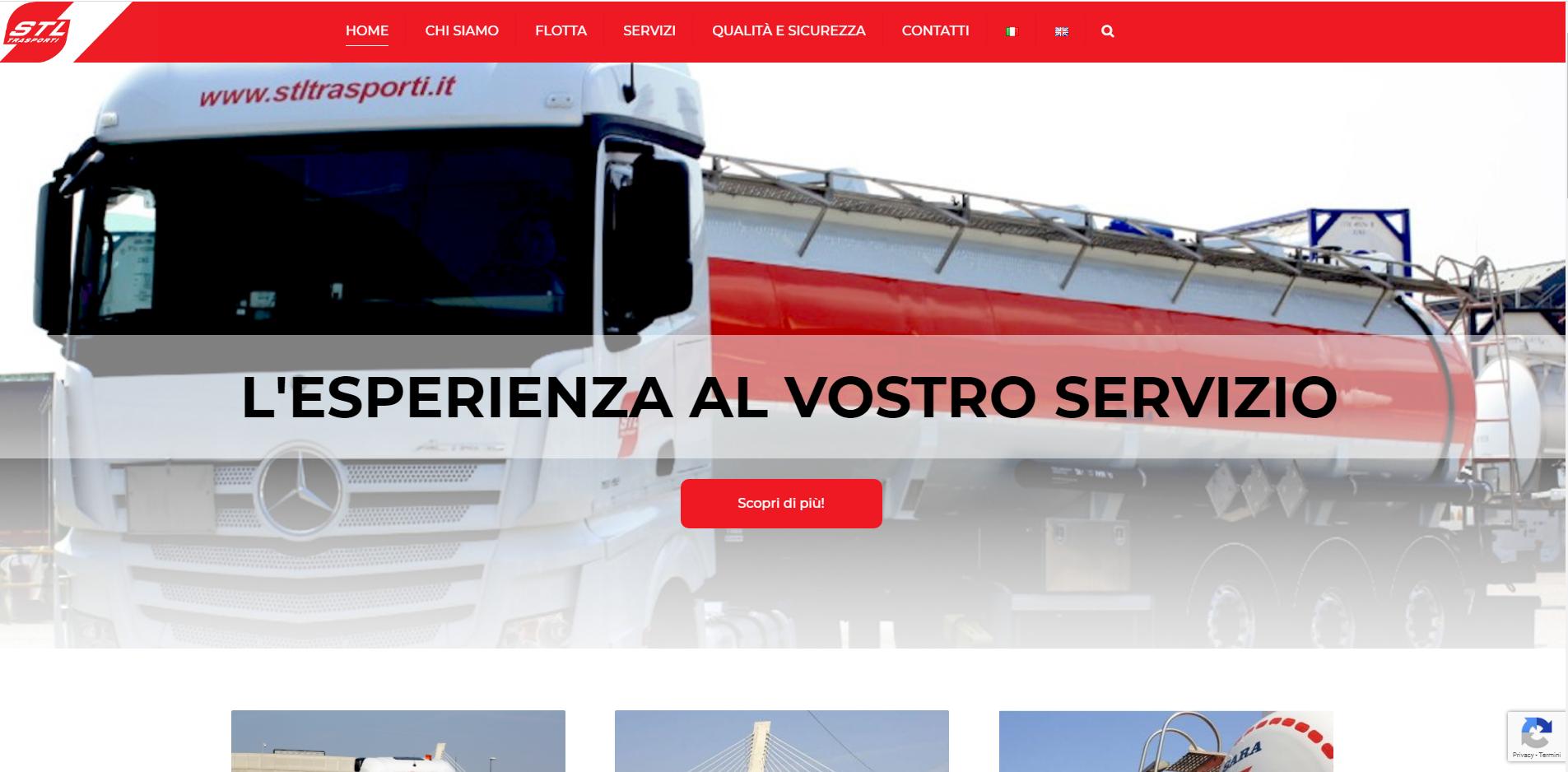 Homepage sito www.stltrasporti.it sviluppato da jtp informatica