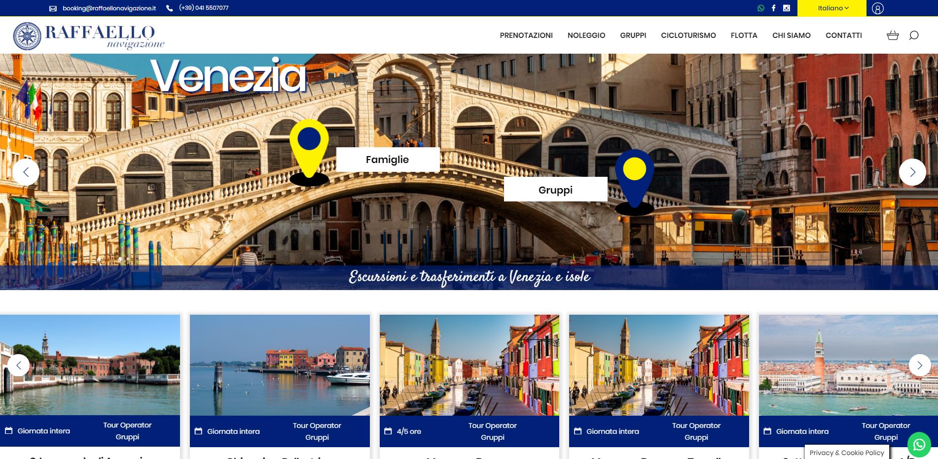 home page sito raffaello navigazione